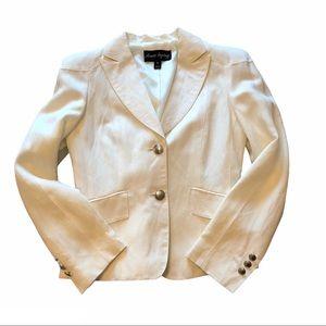 White linen blend blazer